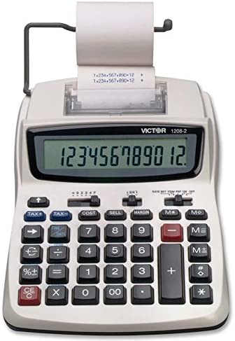 Victor Printing Calculator, 1208-2 Compact and Reliable Adding Machine with 12 Digit LCD Display, Battery or AC Power...
