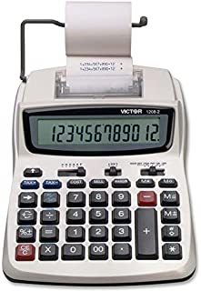 Victor Printing Calculator, 1208-2 Compact and Reliable Adding Machine with 12 Digit LCD Display, Battery or AC Powered, I...