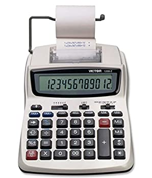 Victor Printing Calculator 1208-2 Compact and Reliable Adding Machine with 12 Digit LCD Display Battery or AC Powered Includes Adapter,White