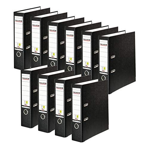 Original Falken 10er Pack PP-Color Kunststoff-Ordner. Made in Germany. 8 cm breit DIN A4 schwarz Vegan Ringordner Aktenordner Briefordner Büroordner Plastikordner Schlitzordner
