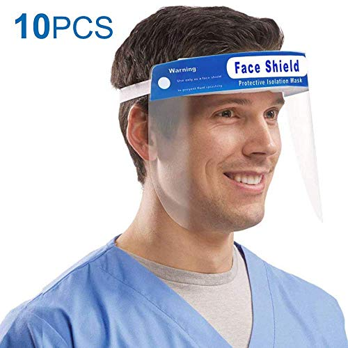AOKESI 10PCS Reusable Safety Face Shield, Adjustable Transparent Full Face Protective Visor with Eye & Head Protection, Anti-Spitting Splash Facial Cover