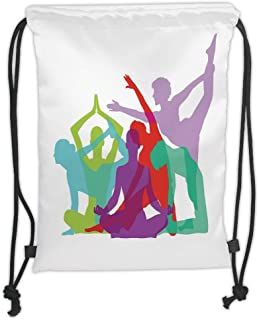 Drawstring Backpacks Bags,Yoga,Yoga Body Forms Poses Figures Female Silhouettes Sportswomen Colorful Composition Decorative,Multicolor Soft Satin,5 Liter Capacity,Adjustable String