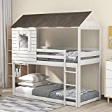 Wood House Bed Frame with Windows, Twin Over Twin House Shaped Bunk Bed with Roof, Playhouse Design (Antique White)