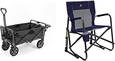 Mac Sports Collapsible Outdoor Utility Wagon with Folding Table and Drink Holders, Gray & GCI Outdoor Freestyle Rocker Po