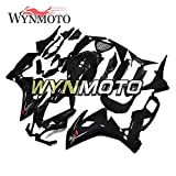 WYNMOTOオートバイの外装パーツフェアリングは アプリリアに適用されますRS125 / RS4 50 2012 2013 2014 RS4 125 2012 2013 ABSプラスチックインジェクションスポーツバイクカウル-光沢のあるピュアブラック