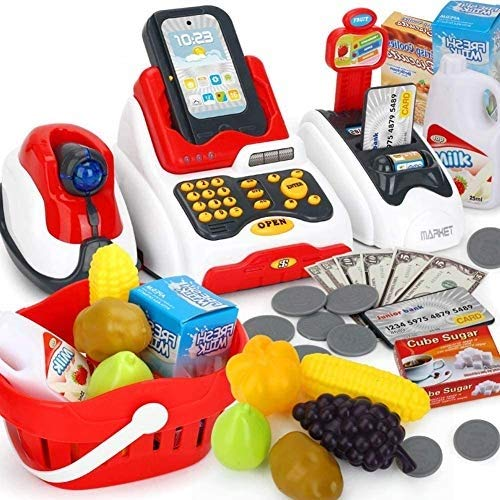 prime deals exclusive cash register for kids with checkout scanner,fruit card reader, credit card machine, play money and food shopping play set- Multi color