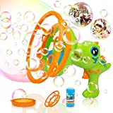 Bubble Machine Double Big & Small Bubble Dinosaur Bubble Blower Bubble Gun Toy for Toddles, Bubble Maker with 8 Floz Bubble Solution Gifts for Kids for Outdoor Activity, Summer Toy