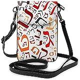 Portafoglio per borsa a tracolla da viaggio per donna con borsa per cellulare da viaggio con alfabeto ebraico creativo