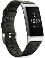 Ouwegaga Band Compatibel met Fitbit Charge 3 Banje, Ademende Geweven Stoffen Accessoires Band met Klassieke Gesp Compatibel met Fitbit Charge 3 / Charge 3 Special Edition, S/L