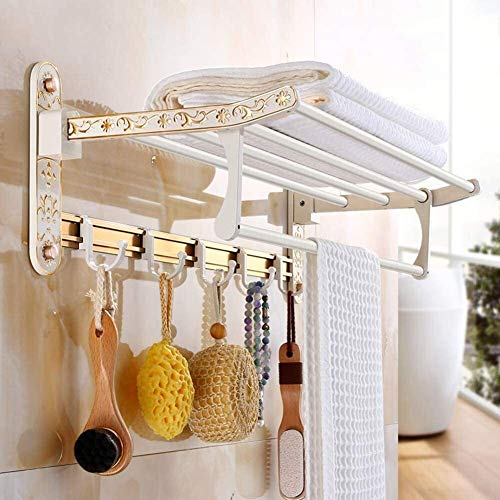 AINIYF Montado en la Pared del baño Plataforma de baño Ducha Organizador de Toallas Sistema for Colgar WC Corte Libre Plegable de Aluminio del Espacio 2 Niveles Plano Blanco (Color: 60x26cm)