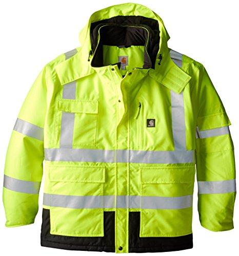 Carhartt Men's Big & Tall High Visibility Waterproof Class 3 Insulated Sherwood Jacket,Brite Lime,XXXX-Large