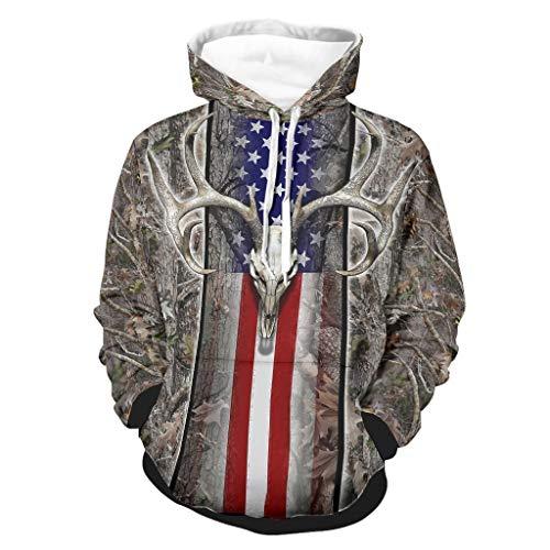 WellWellWell Bandera americana de madera de ciervo calavera de roble con capucha...