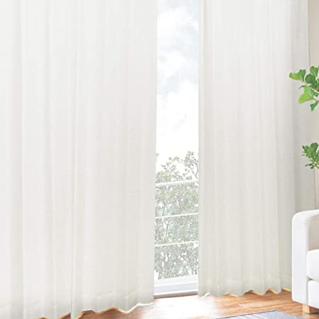 [カーテンくれない] UVカット率【99.3%】の二重レースカーテン 二枚仕立て しっかりとした厚みで 断熱 遮熱効果大 紫外線カット率99.3% 昼夜目隠し 「困った時はこれ一枚」 色:ホワイト サイズ:(幅)100×(丈)176cm×2枚組