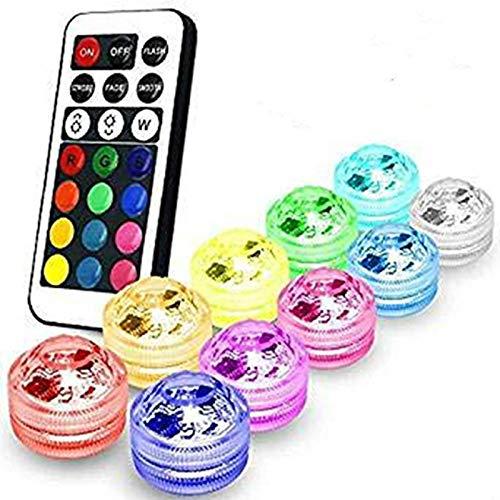 Multicolors Shisha LED Lichter 13 farben Ändern 3cm Mini Batterie Wasserdichte Unterwasser LED Kerze Teelicht mit Fernbedienung für Hochzeit Veranstaltungen Home Vase Centerpeice