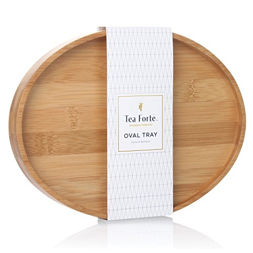 Tea Forte Bamboo Oval Serving Tray for Tea Cup 9 in x 7 in