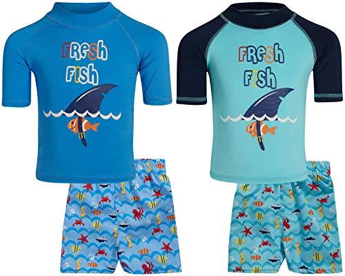 Sweet & Soft Boys UPF 50+ Boys Short Sleeve 4 Piece Rash Guard & Trunk Swimsuit Set (Infant/Toddler/Little Kid), Size 12 Months, Fresh Fish