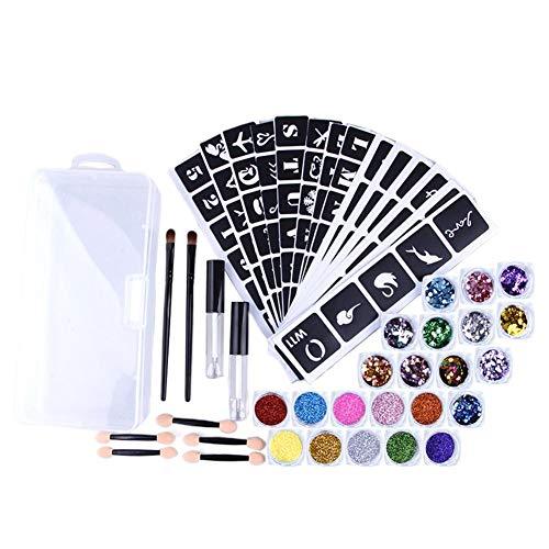Ensemble de tatouage de paillettes, kit de tatouage de paillettes pour les fêtes d'enfants (10 grandes couleurs de paillettes, 98 pochoir de tatouage cool, 2 colle scintillante, 4 pinceaux) Paillettes