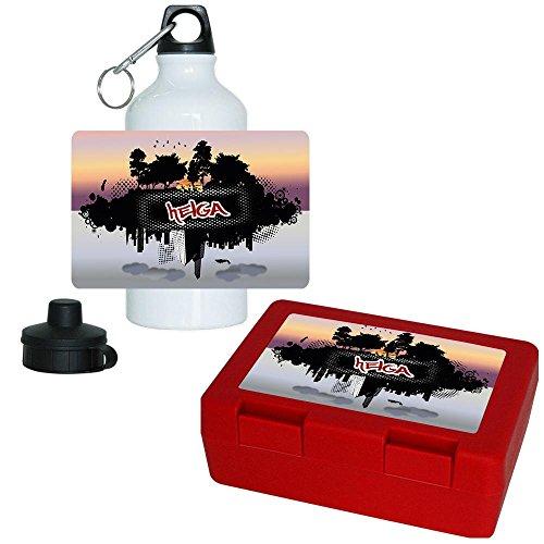 Brotdose + Trinkflasche Set mit Namen Helga und modernem Stadt / Natur - Motiv | Aluminium-Trinkflasche | Lunchbox | Vesper-Box