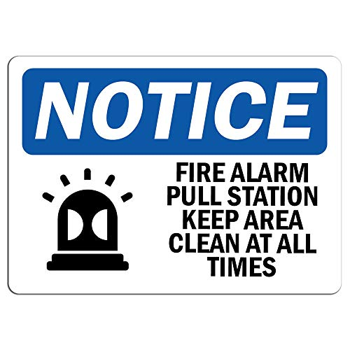 Notice - Fire Alarm Pull Station Keep Sign with Symbol | Label Decal Sticker Retail Store Sign Sticks to Any Surface 8'