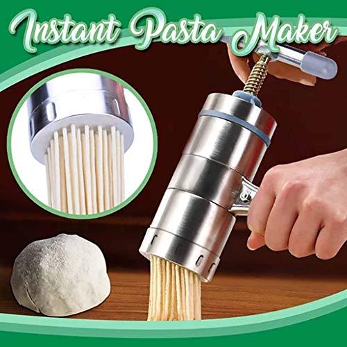 Edelstahl Handbuch Noodles Presse Maschine Nudelmaschine, Multi Küche Manuell Nudel Maker Nudelpresse-Maschine Gemüse Obst Saftpresse Saft Quetschen Maschine mit 2 Noodle Mould