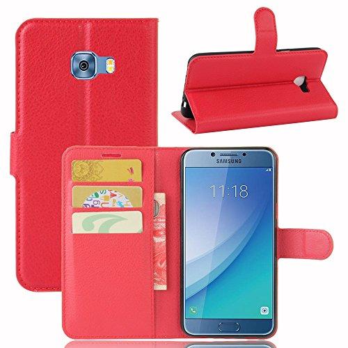 Qiaogle Telefono Case - Custodia in Pelle PU Basamento Custodia Protettiva Cover per Samsung Galaxy C5 PRO C5010 (5.2 Pollici) - FC04 / Rosso Stile di Affari di Modo