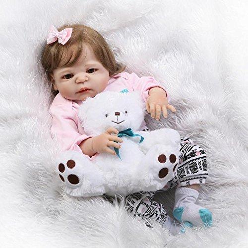 Nicery Doll Reborn Babypuppe Harte Silikon Vinyl für Jungen und Mädchen Geburtstagsgeschenk 50-55cm Dolls gx55z-45de