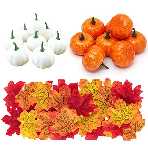Fox Claw Artificial Pumpkins for Decoration, 16PCS Fake Pumpkin with 100PCS Lifelike Maple Leaves Artificial Vegetables for Fall Party Garland Halloween Thanks Giving Party Garden Kitchen Decoration