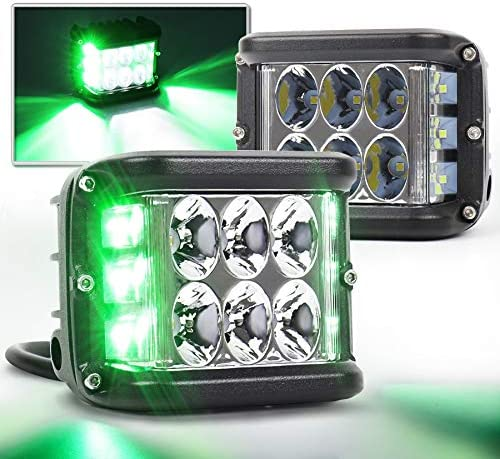 OVOTOR Dual Side Shooter LED Lights 4inch Green DRL Solid Strobe Off Road LED Pod Lights for product image