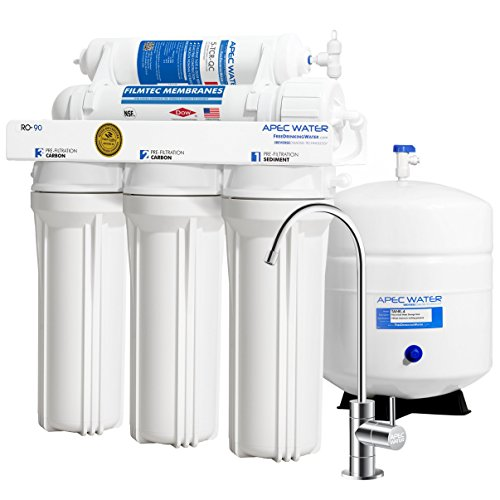 Product Image of the APEC Water Systems RO-90 Ultimate Series Top Tier Supreme Certified High Output 90 GPD Ultra Safe Reverse Osmosis Drinking Water Filter System, Chrome Faucet