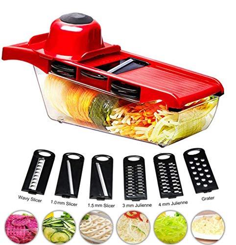 WJSW 6 in einem Multifunktionsschneider, Gemüsereibe, Kartoffelhacker, Lebensmittelhacker mit Vorratsbehälter, Handschutz und Zwiebelschäler, Gurke