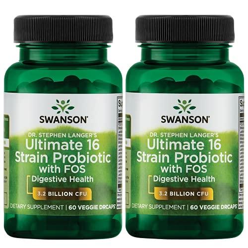 Swanson Probiotic with Prebiotic FOS Dr. Stephen Langer's Formula Digestive Support 16-Strain Supplement 3.2 Billion CFU 60 Capsules (2 Pack)