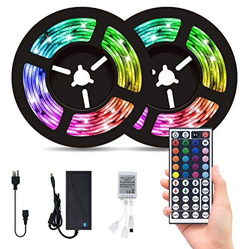 LED Strip Lights for Bedroom,32.8ft with 300 LED Lights,SAUDIO Flexible Color Changing 5050 RGB LED Tape Lights with 44 Keys IR Remote for Home Lighting,Kitchen,TV,Party,DIY and Decoration