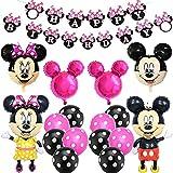 BESTZY Minnie Cumpleaños Decoracion Juego Globos, globo temático Fiesta de Tema de Juegos Incluye Globos de Látex Decoraciones de cumpleaños de Mickey(Rosa roja)