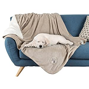 """Waterproof Pet Blanket-50""""x60"""" Soft Plush Throw Protects Couch, Chairs, Car, or Bed from Spills, Stains, or Pet Fur-Machine Washable by Petmaker (Tan)"""
