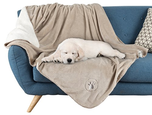 "Waterproof Pet Blanket-50""x60"" Soft Plush Throw Protects Couch, Chairs, Car, or Bed from Spills, Stains, or Pet Fur-Machine Washable by Petmaker (Tan)"