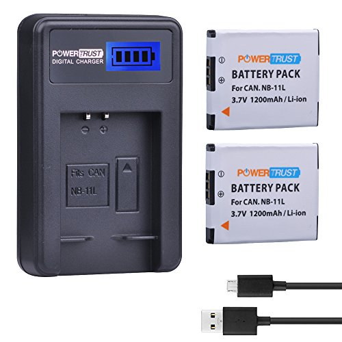 PowerTrust 2 Pack 3.7v NB-11L Replacement Battery and NB-11LH LCD USB Charger for Canon PowerShot A2300 IS, A2400 IS, A2500, A2600, A3400 IS, A3500 IS, A4000 IS, ELPH 110 HS, ELPH 115 HS, ELPH 130 HS,