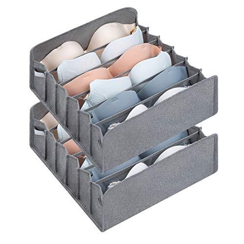 DIMJ Organizer z szufladami na biustonosz, 2 sztuki, szafa na ubrania, składane, pudełka do przechowywania bielizny z 6 komorami, system porządkowania biustonosza, bielizny, krawata, szal jedwabny