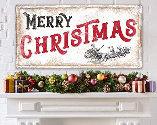 Rommie Großer rustikaler Kunstdruck Merry Christmas traditioneller Urlaub Vintage Nostalgie Home Decor Rot Bauernhaus Santa Schlitten Winter Kamin Decor