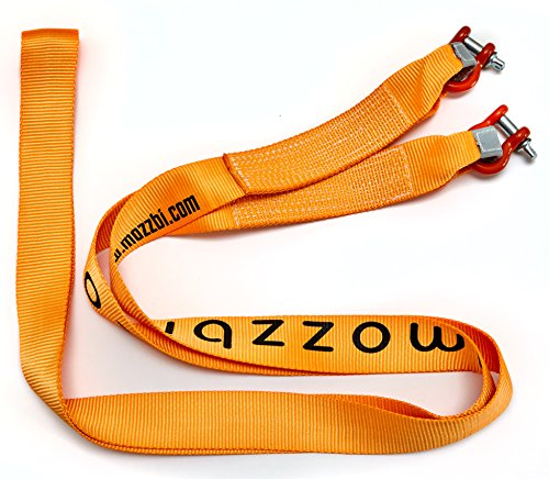 Mozzbi Tow Strap Heavy Duty with D-Shackle (3 inch x 5m Long) 2000 lbs
