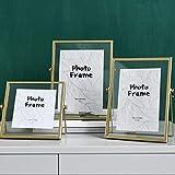 CLI Marco de Fotos Moderno Marco de Fotos Recuerdo Golden Geometric Plant 3D Gold 25 × 17.5cm-Gold_Three Piece Set