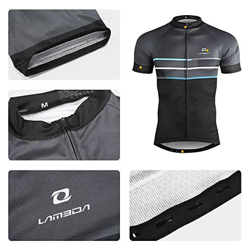 LAMEDA Kurzarm Radtrikot Fahrradtrikot Herren T-Shirt Jersey Radsport Funktionsshirt Elastische Atmungsaktive Schnell Trocknen Stoff(Blau S) - 3