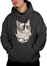 Men's Grumpy-Watercolor-cat Sweatshirt Hoodie