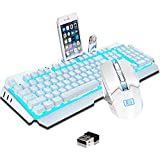 Rechargeable Keyboard and Mouse,Suspended Keycap Mechanical Feel Metal Panel Gaming Keyboard Mouse Combo,3800mAh Large Capacity Lithium Battery,Anti-ghosting (White)