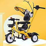 Triciclo Bebe Evolutivo Plegable para Niños más de 18 Meses Guardabarros Rueda de Seguridad Neumáticos para Coches y Conducción Silenciosa,18 Meses - 5 Años,hasta 30kg, Yellow