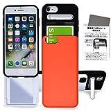 iPhone 6/6s/7/8/SE 2020 マット スマホケース カード 収納 鏡 ミラー スマホスタンド マルチケース カバー タフケース 耐衝撃 つや消し Suica (マット/オレンジ)