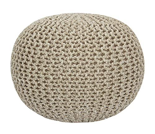 COTTON CRAFT - Hand Knitted Cable Style Tweed Dori Pouf - Natural - Floor Ottoman - Cotton Braid Cord - Handmade & Hand Stitched - Truly one of a Kind...
