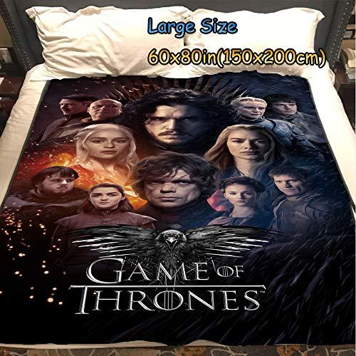 ASDIWON Game of Thrones Hochwertige warme weiche Flanell Plüsch auf der Schlafsofa Decke Geeignet für Klimaanlage Decke Nap Decke (60x80in(150x200cm),C)