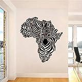 XCJX Afrikadagi Zebra xaritasi uchun devorga stikerlar. UY uchun bezakli vinil devorga bezak berilgan Zebra naqshli hayvon yashash xonasi uchun olinadigan tuk 58cm x 62cm
