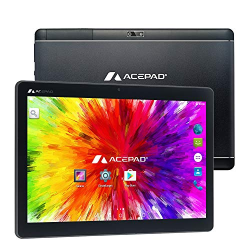 "ACEPAD A121 (10.1"") 3G Tablet PC, 2GB RAM, 64GB Speicher, Android 9.0 Pie, Dual-SIM, IPS HD 1280x800, Quad Core CPU, WiFi/WLAN/Bluetooth, microUSB/microSD (Alu-Schwarz)"