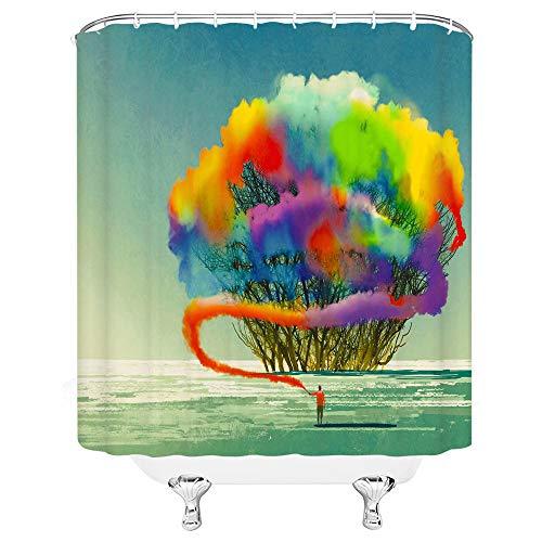 kuanmais Lustige duschvorhang abstrakte künstlerische Farbe Rauch duschvorhang mehltau wasserdicht extra Lange Bad Vorhang für Bad mit 12 Haken 150x180cm
